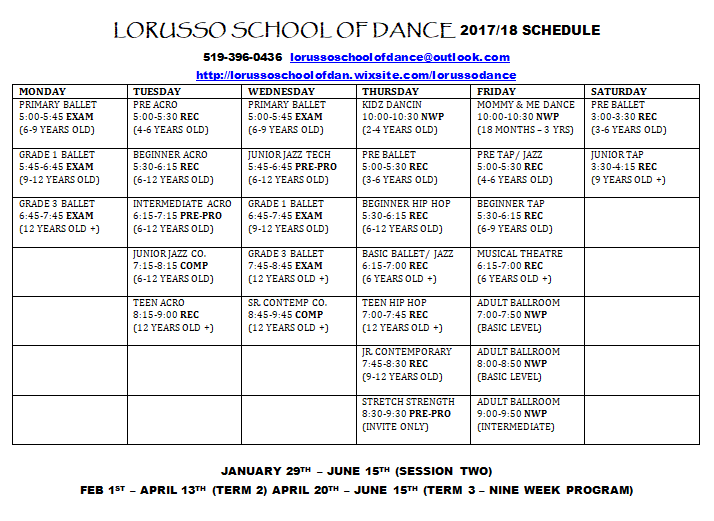 Lorusso School of Dance Session 2 Registration